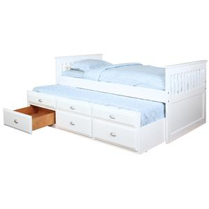 Bernards Logan Captain's Bed with Trundle and Storage