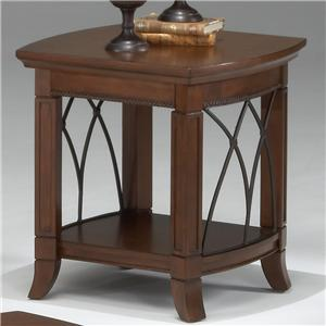 Bernards Cathedral Cherry End Table w/ Lower Shelf