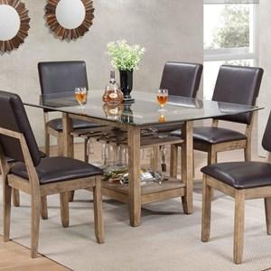 Bernards Cordova Rectangular Glass Top Dining Table