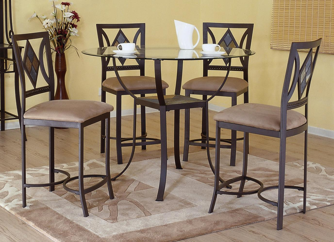 Bernards Diamond Tile 5- Piece Round Counter Table Set - Item Number: 4718+4x4719