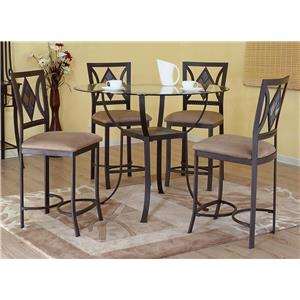 Bernards Diamond Tile 5- Piece Round Counter Table Set