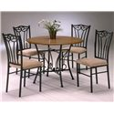 Bernards Heritage 5 Piece Wood and Metal Dinette - Item Number: 4310BA+TP+4xCH