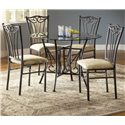 Bernards Heritage 5 Piece Metal Dinette - Item Number: 4810BA+TP+4xCH