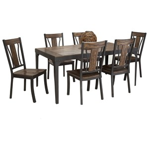 Bernards Hollister 7-Piece Rectangular Dining Table Set