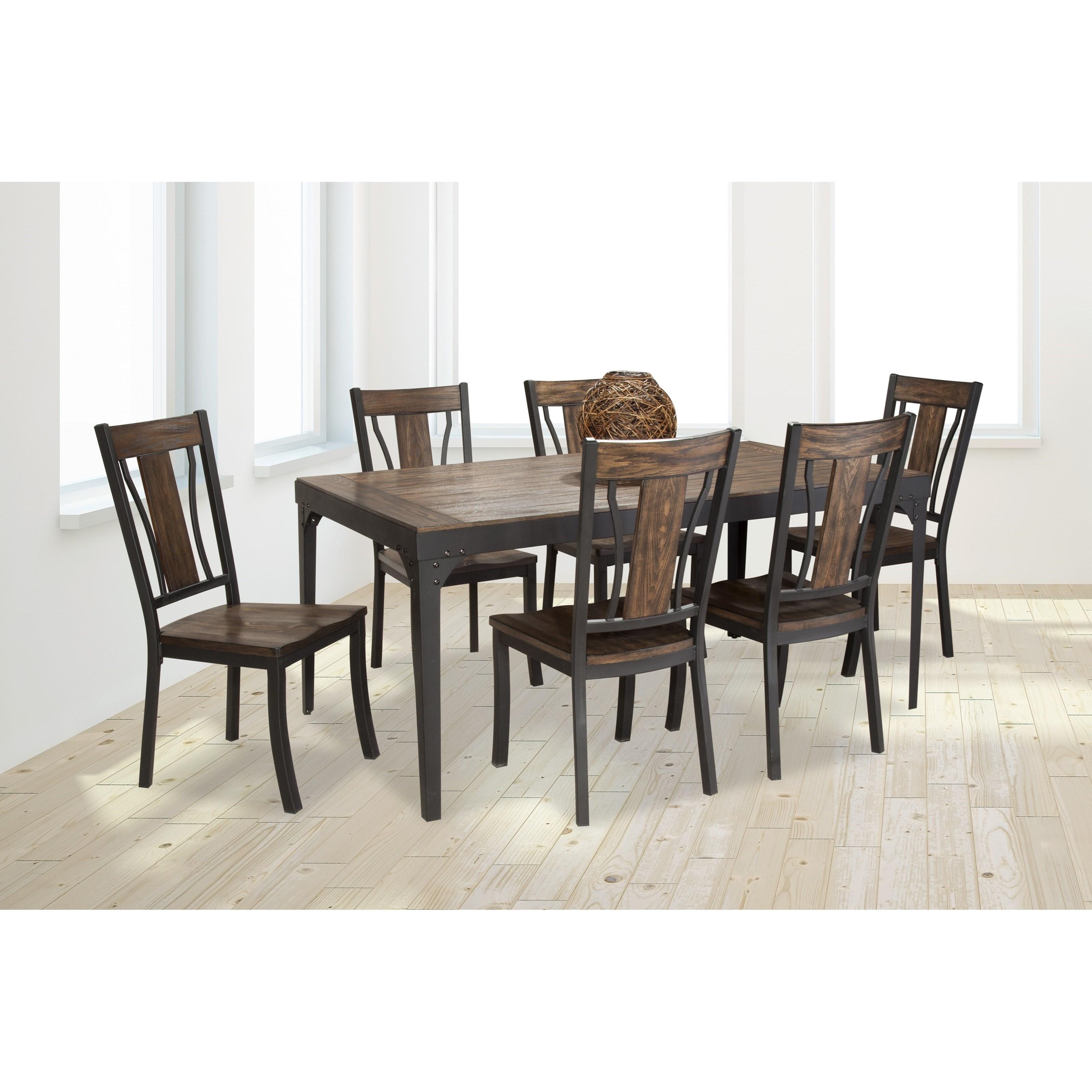 Metal And Wood Dining Table: Bernards Hollister Rectangular Metal And Wood Dining Table