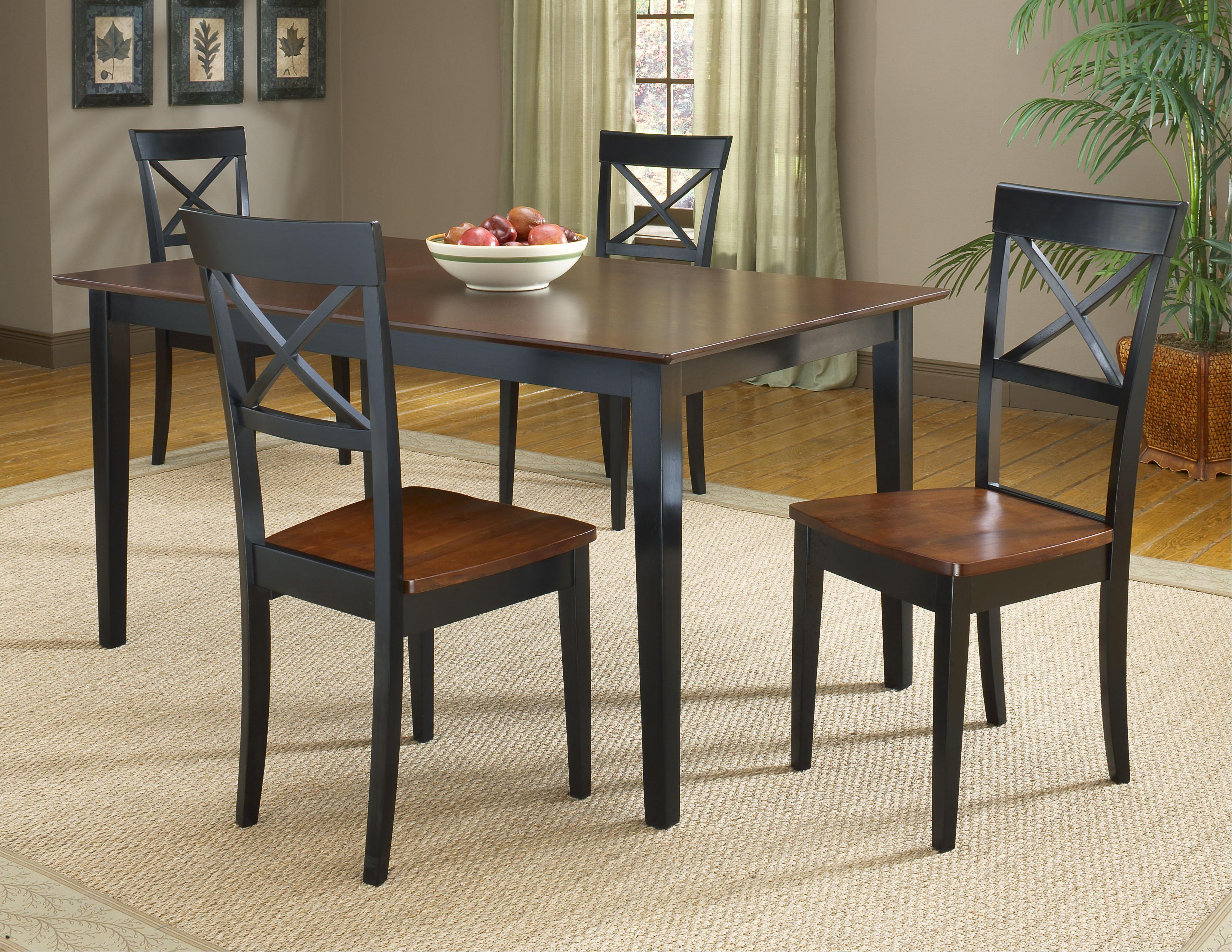 Bernards Jaguar 5-Piece Black/Merlot Dinette Table Set - Item Number: 5110+4x11