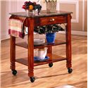 Bernards Kitchen Carts Caster Kitchen Island with Marble Top - Item Number: 7430