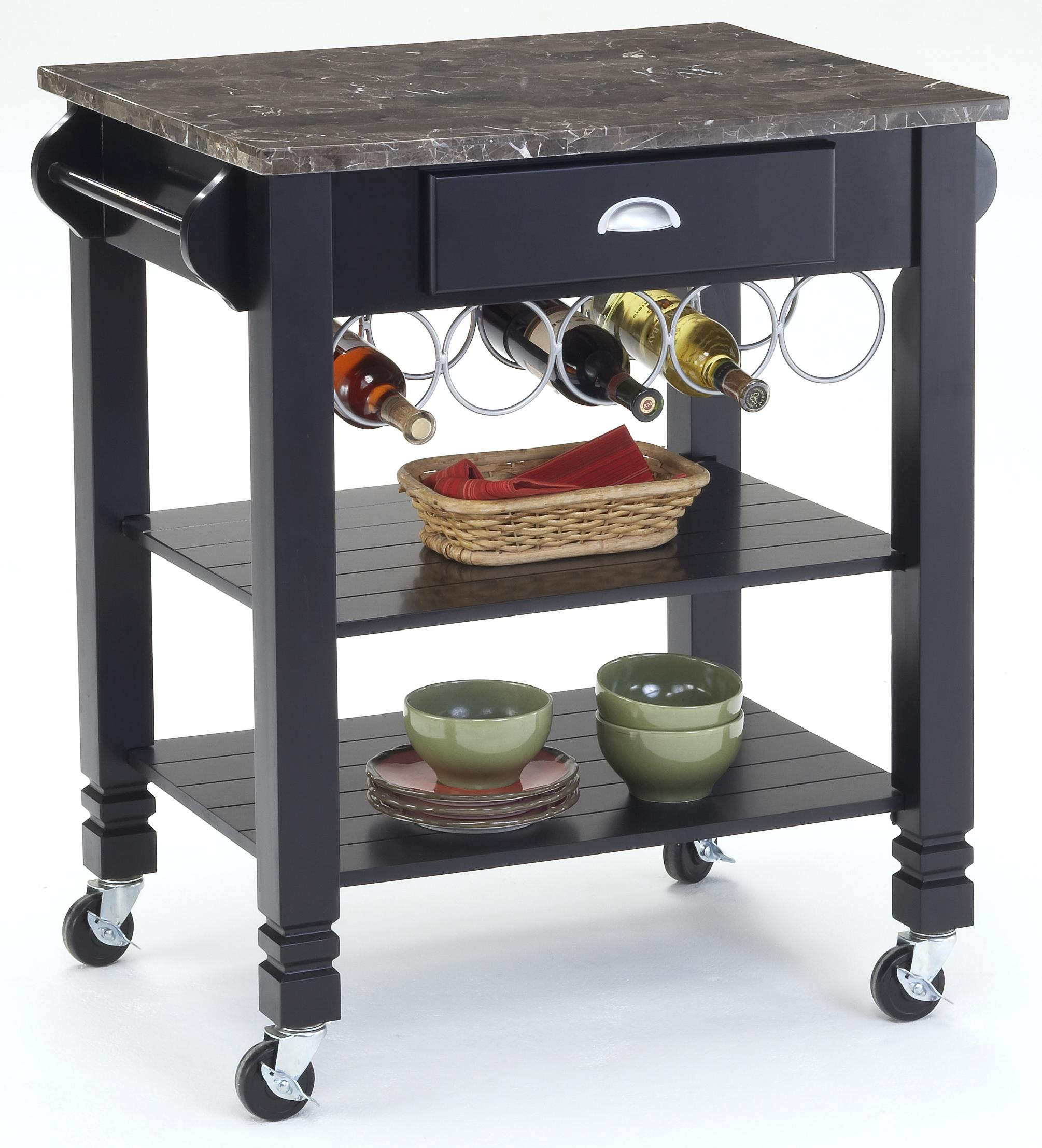 Bernards Kitchen Carts Caster Kitchen Island with Marble Top - Item Number: 7432