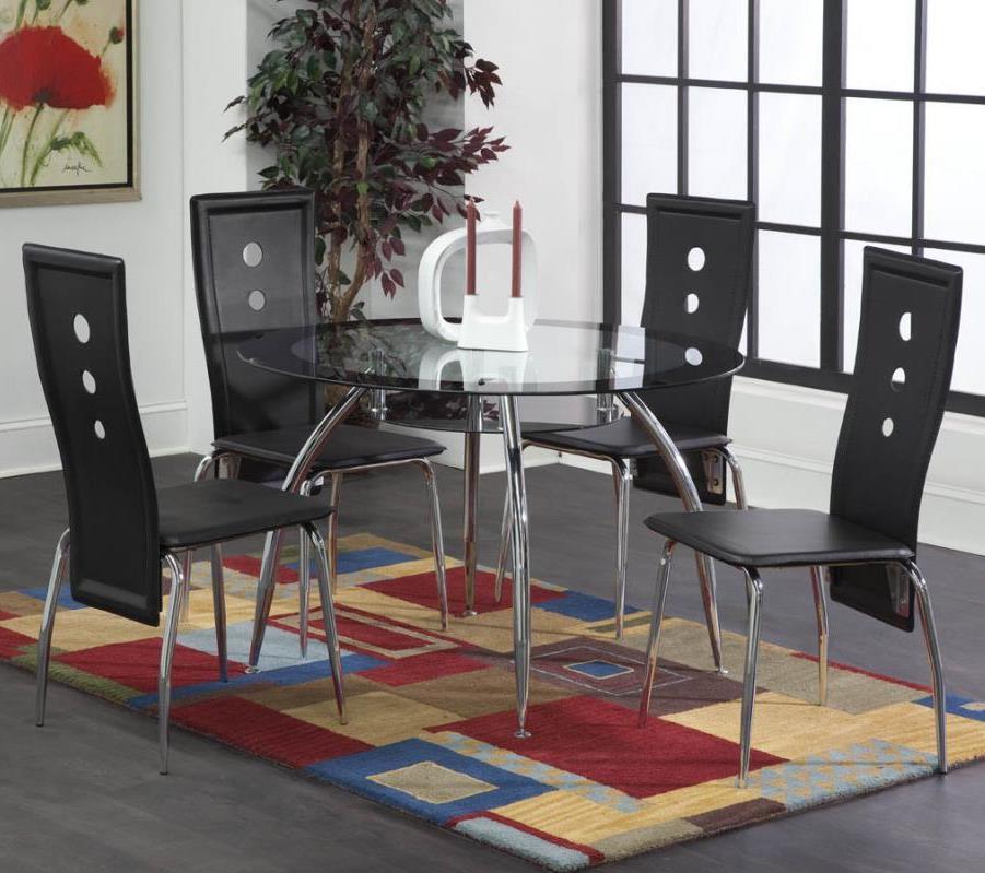 Bernards Lunar 5-Piece Black / Chrome Dinette Table Set - Item Number: 4502+4x4503