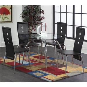 28993 Lunar 5-Piece Black / Chrome Dinette Table Set