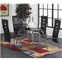 Morris Home Furnishings Lunar 5-Piece Black / Chrome Dinette Table Set - Item Number: 4502+4x4503
