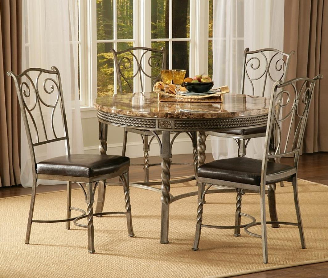 Bernards Madison 5-Piece Faux Marble/Metal Dinette Table Set - Item Number: 4330+4x4331
