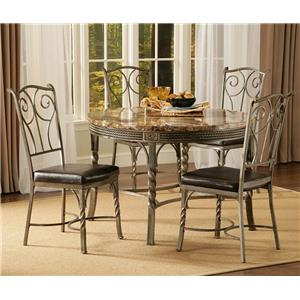 Bernards Madison 5-Piece Faux Marble/Metal Dinette Table Set