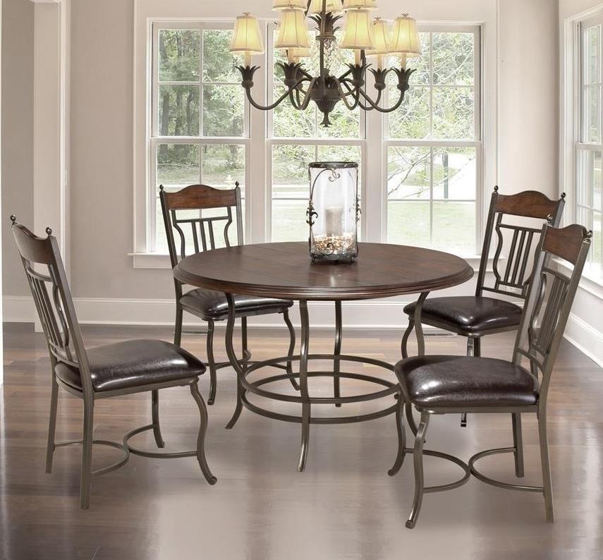 Anime Royal Dining Room: Bernards Midland 5-Piece Metal/Wood Round Dining Table Set
