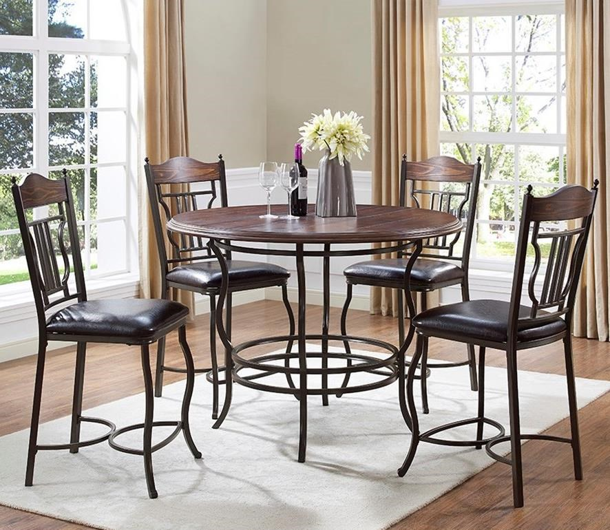 5-Piece Round Counter Dining Table Set