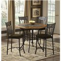 Morris Home Furnishings Red Rock Pub Table with Stone Inlay - Shown with Matching Bar Stools