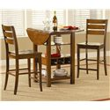 Morris Home Furnishings Ridgewood Drop Leaf Pub Table with Wine Rack - Shown with Bar Stools