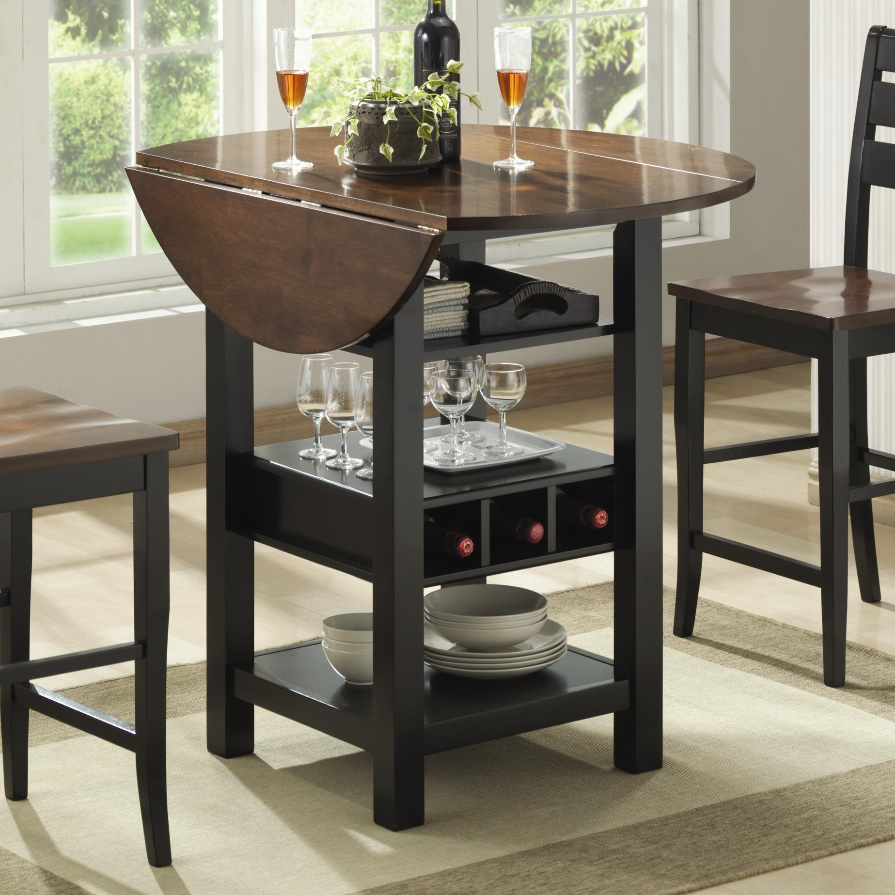 Bernards Ridgewood Drop Leaf Pub Table With Wine Rack