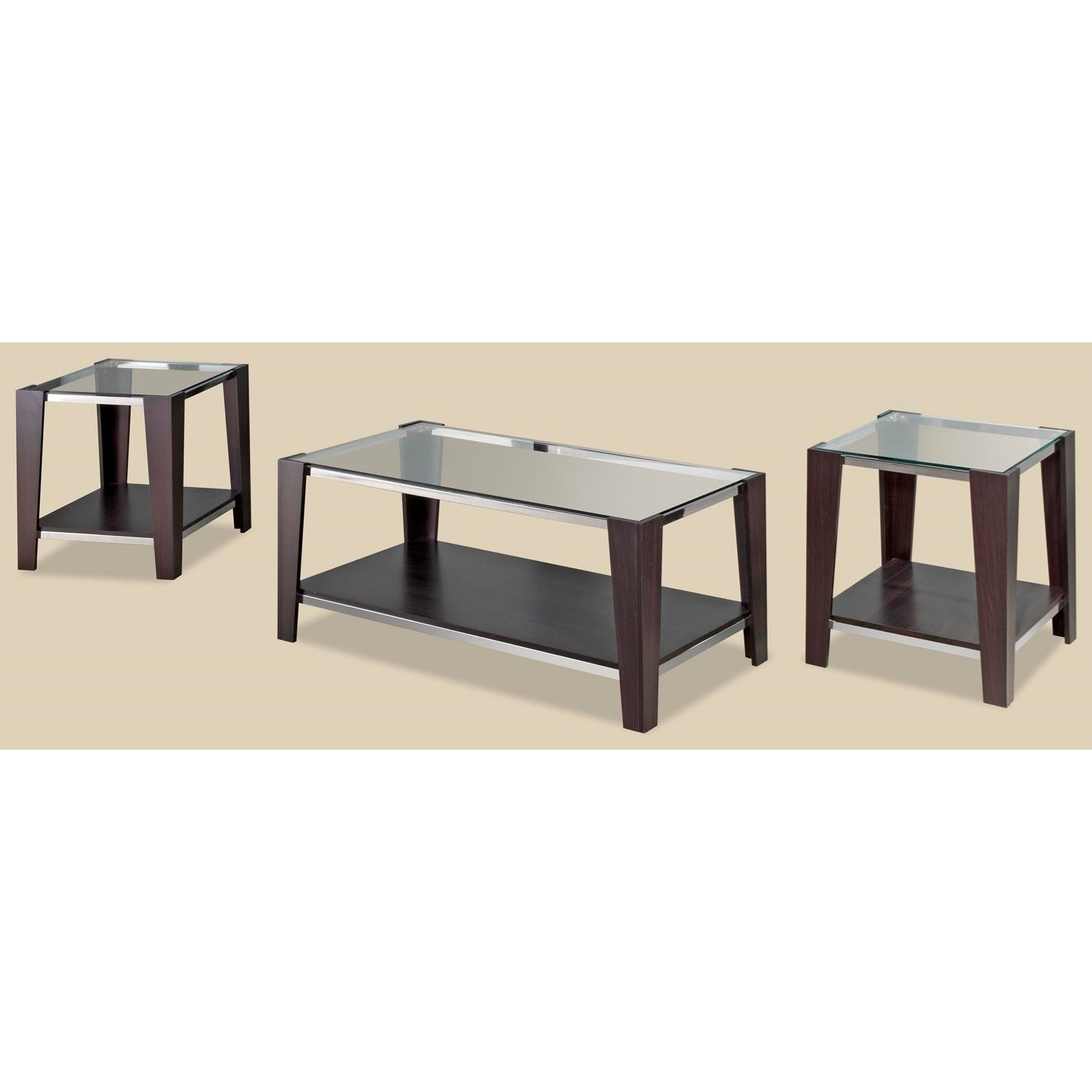 28993 Sylva Wood/Glass 3-Pack of Occasional Tables - Item Number: 9504