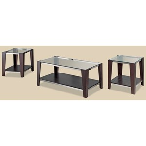 Morris Home Furnishings Sylva Wood/Glass 3-Pack of Occasional Tables
