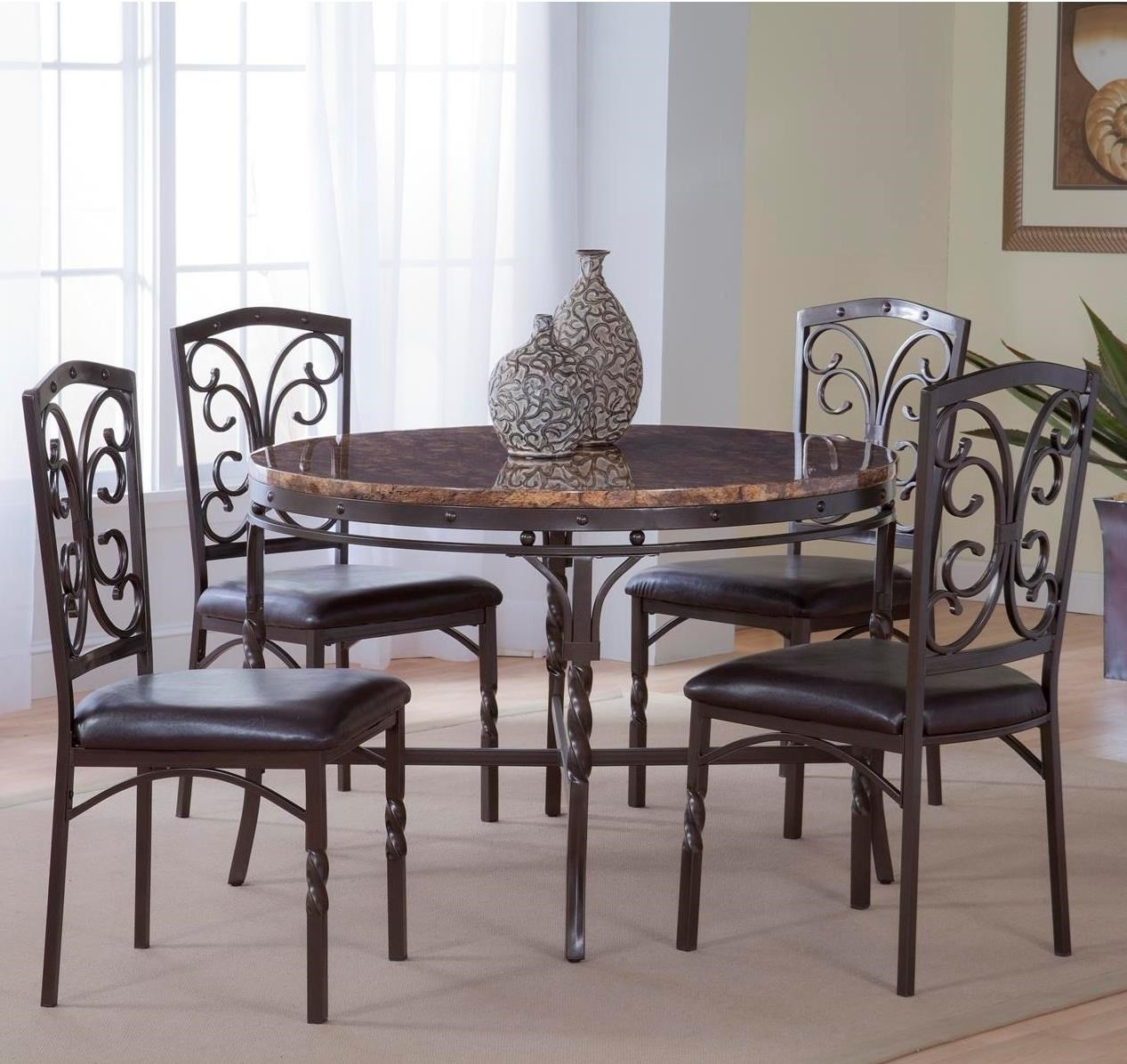 Bernards Tuscan 5 Piece Metalfaux Marble Dinette Table Set Royal