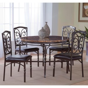 Bernards Tuscan 5-Piece Faux Marble Dinette Table Set