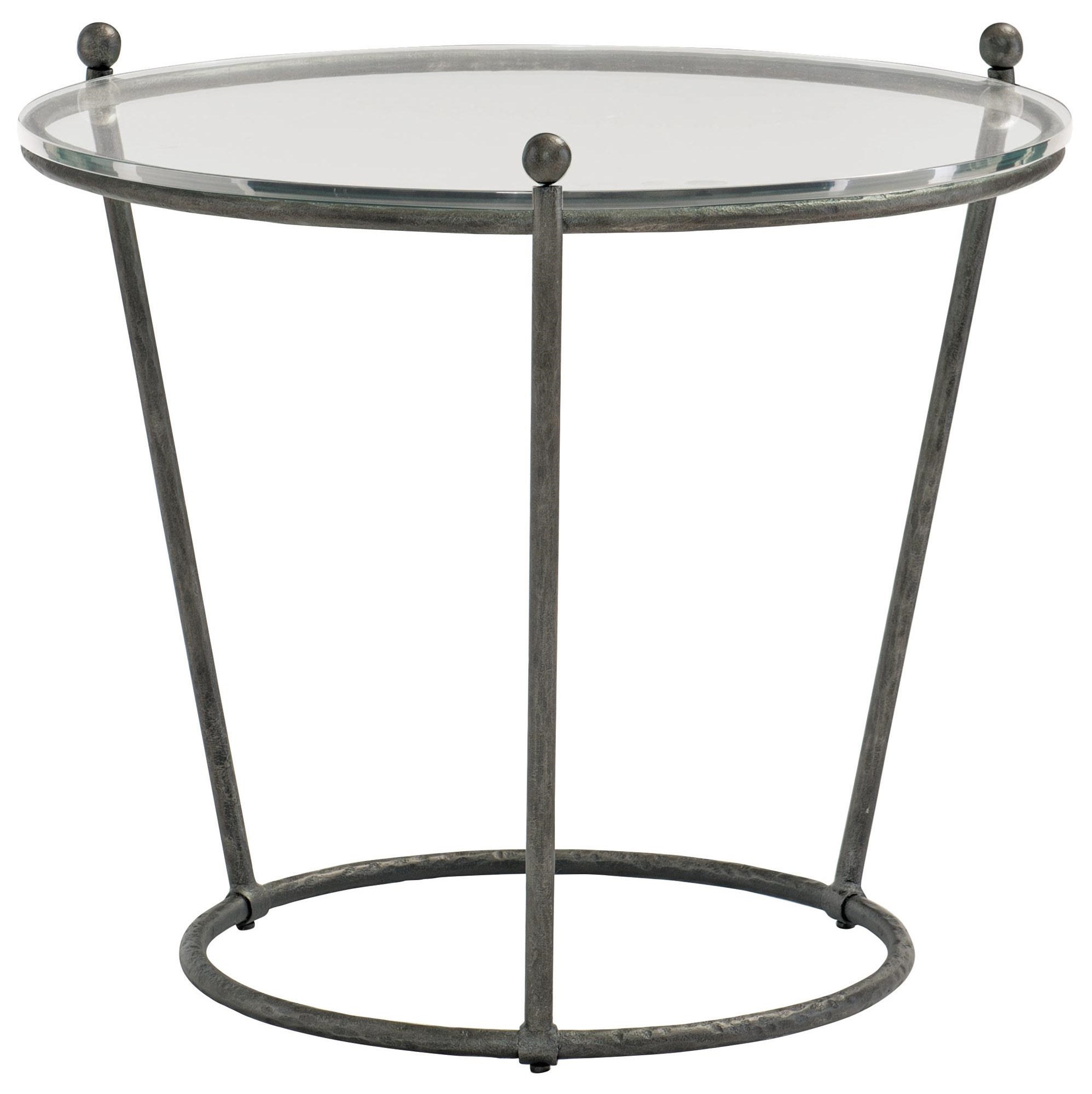 Cortland Round Glass and Metal End Table by Bernhardt at Dunk & Bright Furniture