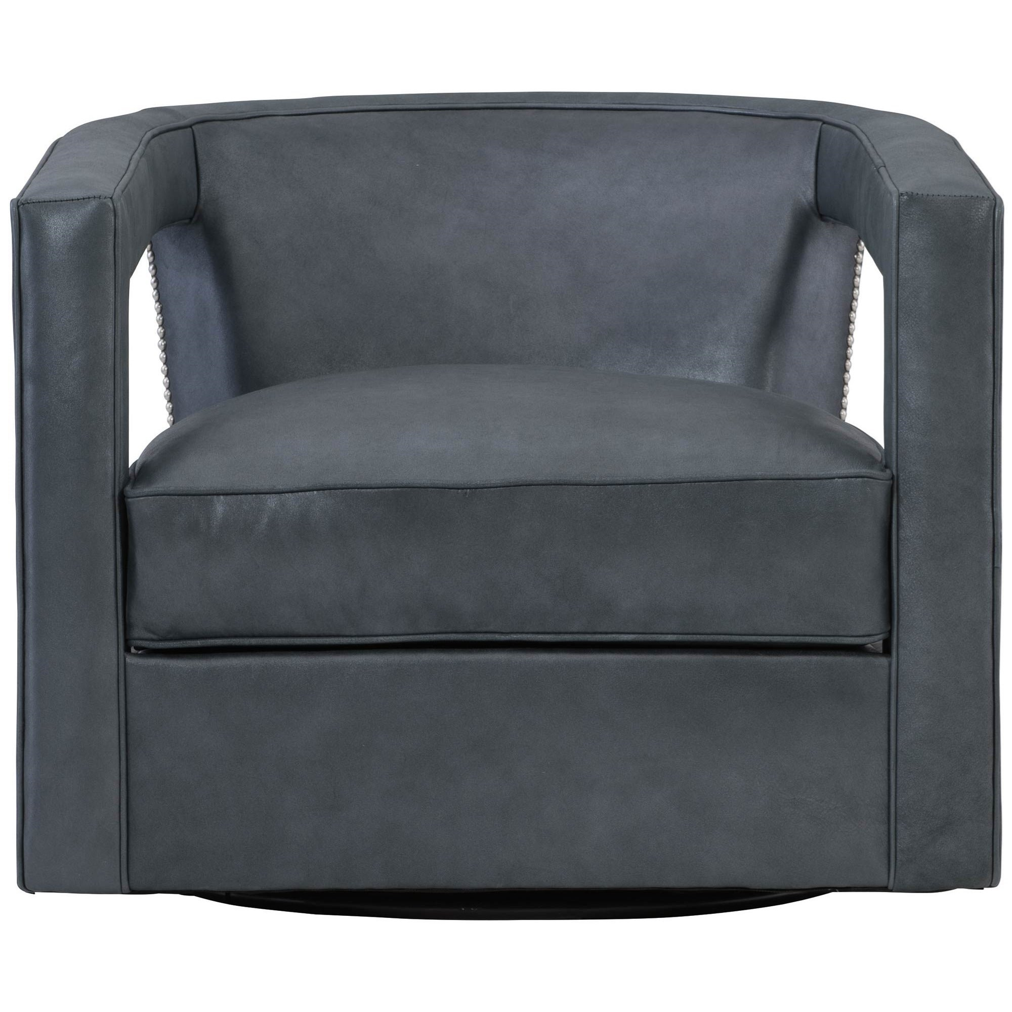Alana Contemporary Swivel Chair with Nailheads at Williams & Kay