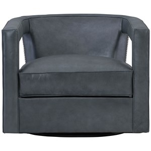 Contemporary Swivel Chair with Nailheads