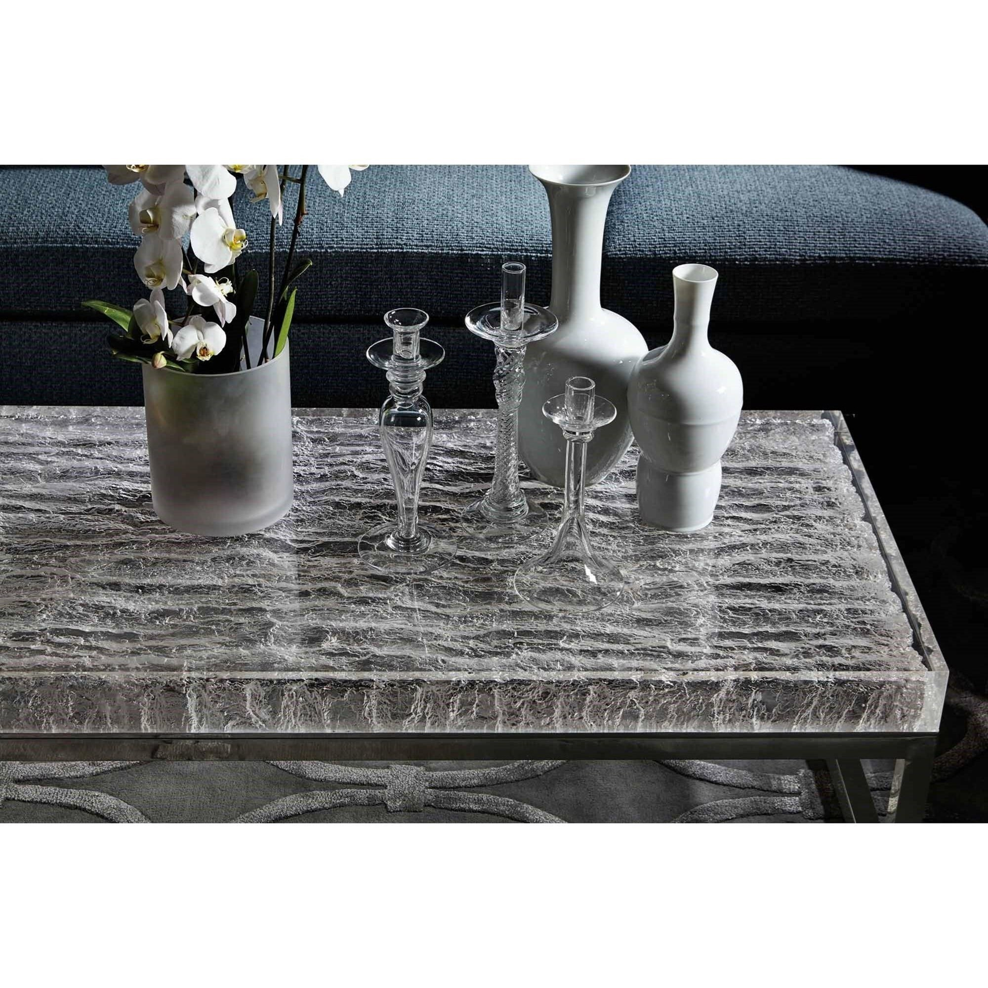 Solid Stainless Steel Coffee Table: Bernhardt Arctic 375-023 Solid Acrylic Top Cocktail Table