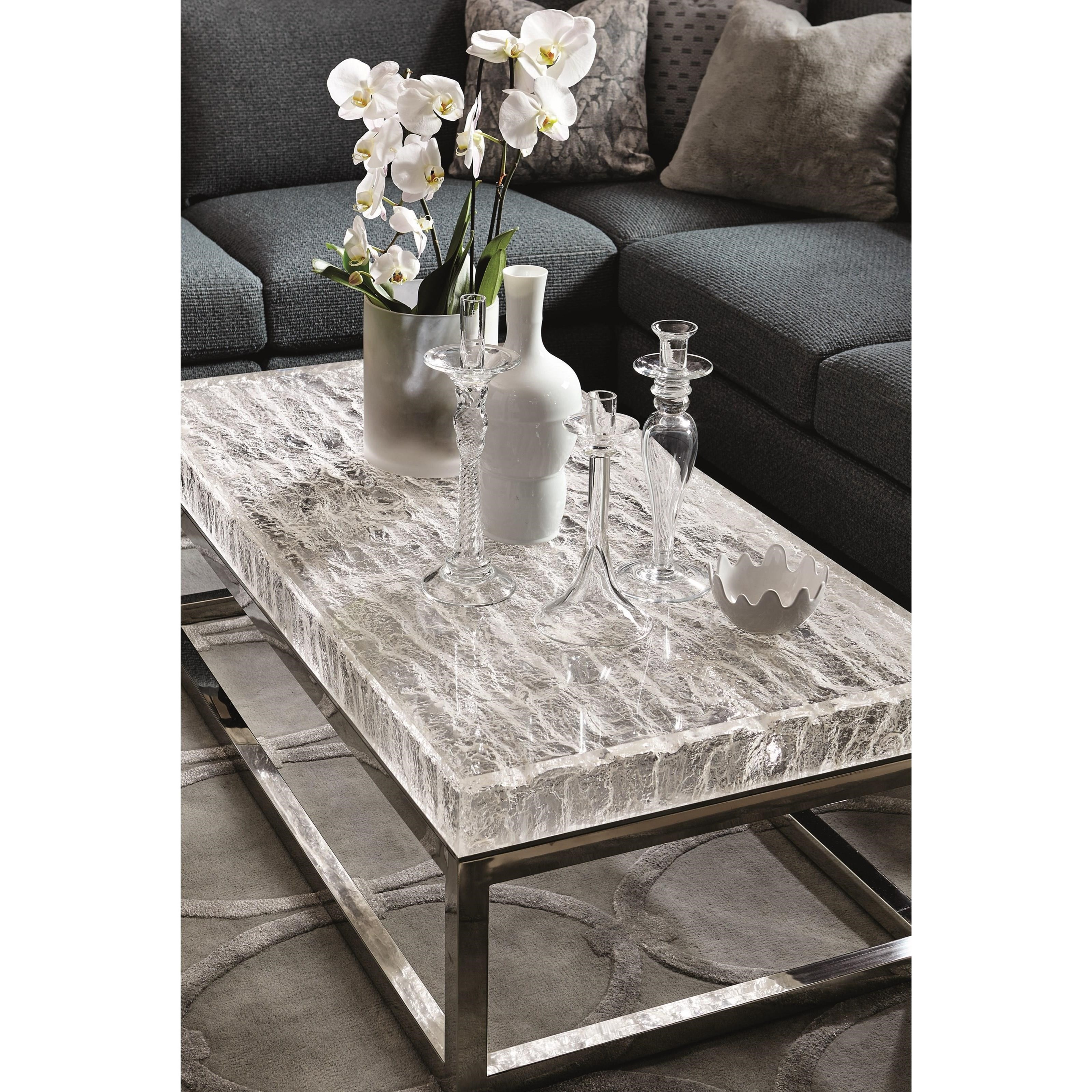 Solid Granite Top Coffee Table: Bernhardt Arctic Solid Acrylic Top Cocktail Table With