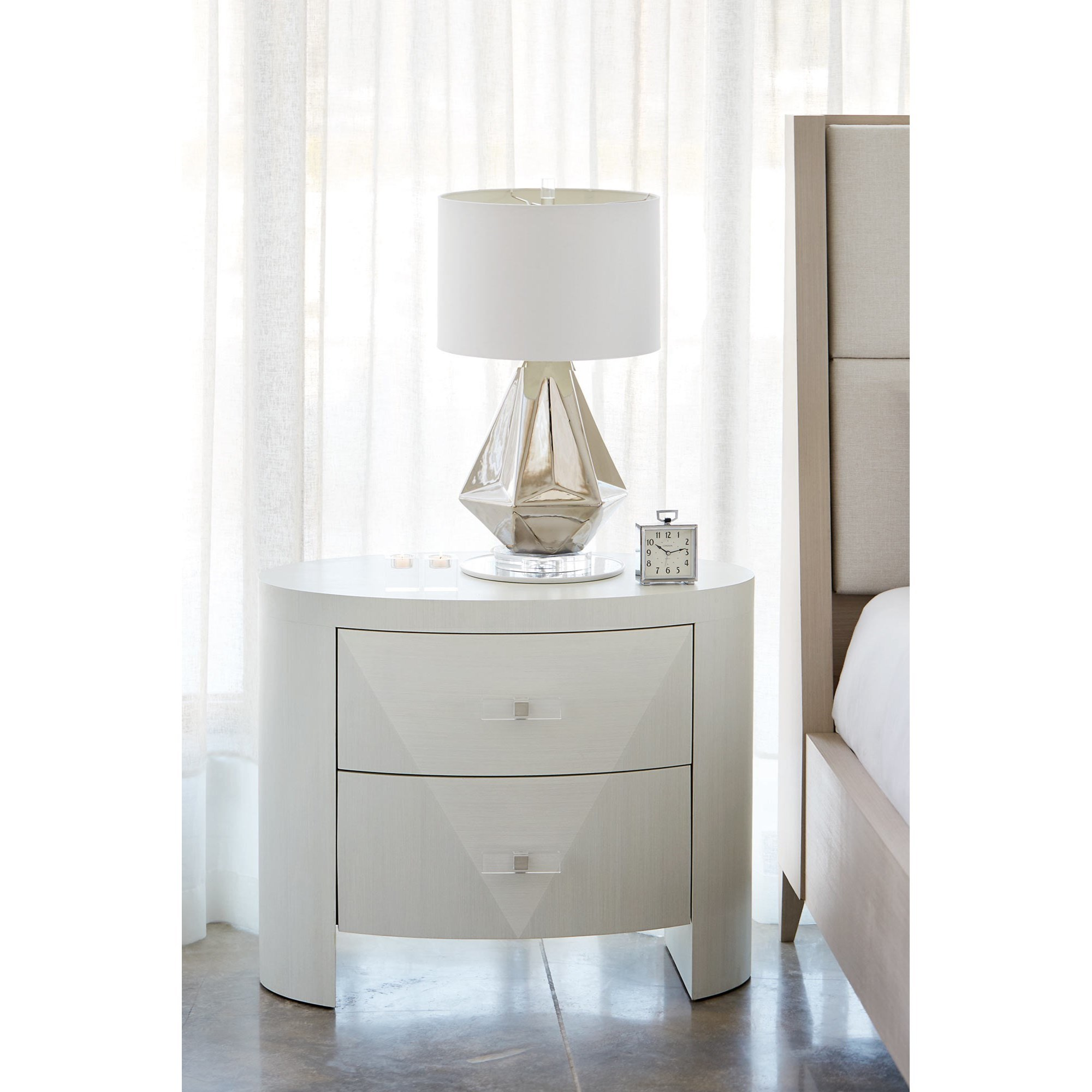 Bernhardt Axiom 381 213 Contemporary Oval Nightstand With