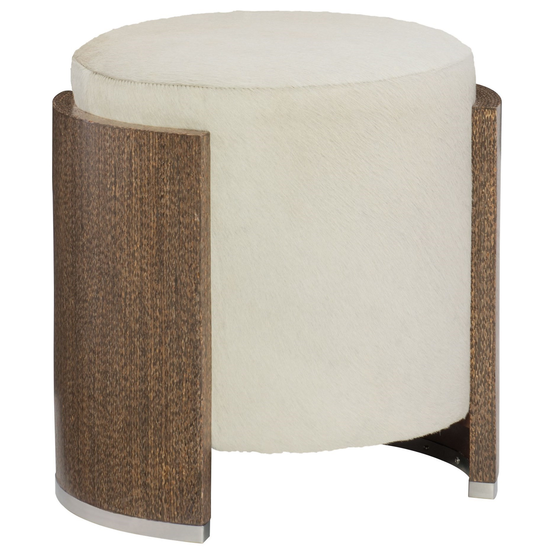 Bernhardt Barrows Contemporary Round Accent Ottoman With Wood Frame