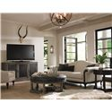 Bernhardt Belgian Oak White Oak Cocktail Ottoman with Tufted Seat Cushion - Shown with Coordinating Collection Entertainment Console and Round Chairside Table