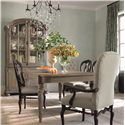 Bernhardt Belgian Oak Traditioinal Wood Side Chair with Padded Seat - Shown with Coordinating Collection China Cabinet, Dining Table and Upholstered Arm Chairs