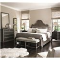 Bernhardt Belgian Oak High End Master Bedroom King Size Panel Bed with Traditional Elegant Style - Shown with Coordinating Collection Chest, Mirror, Bench and Bachelor\'s Chest. Bed Shown May Not Represent Size Indicated.