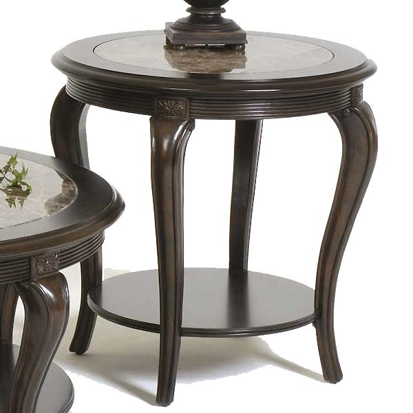Round Lamp Table with Marble Inset