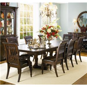 Bernhardt Belmont Double Pedestal Table and 8 Dining Chairs