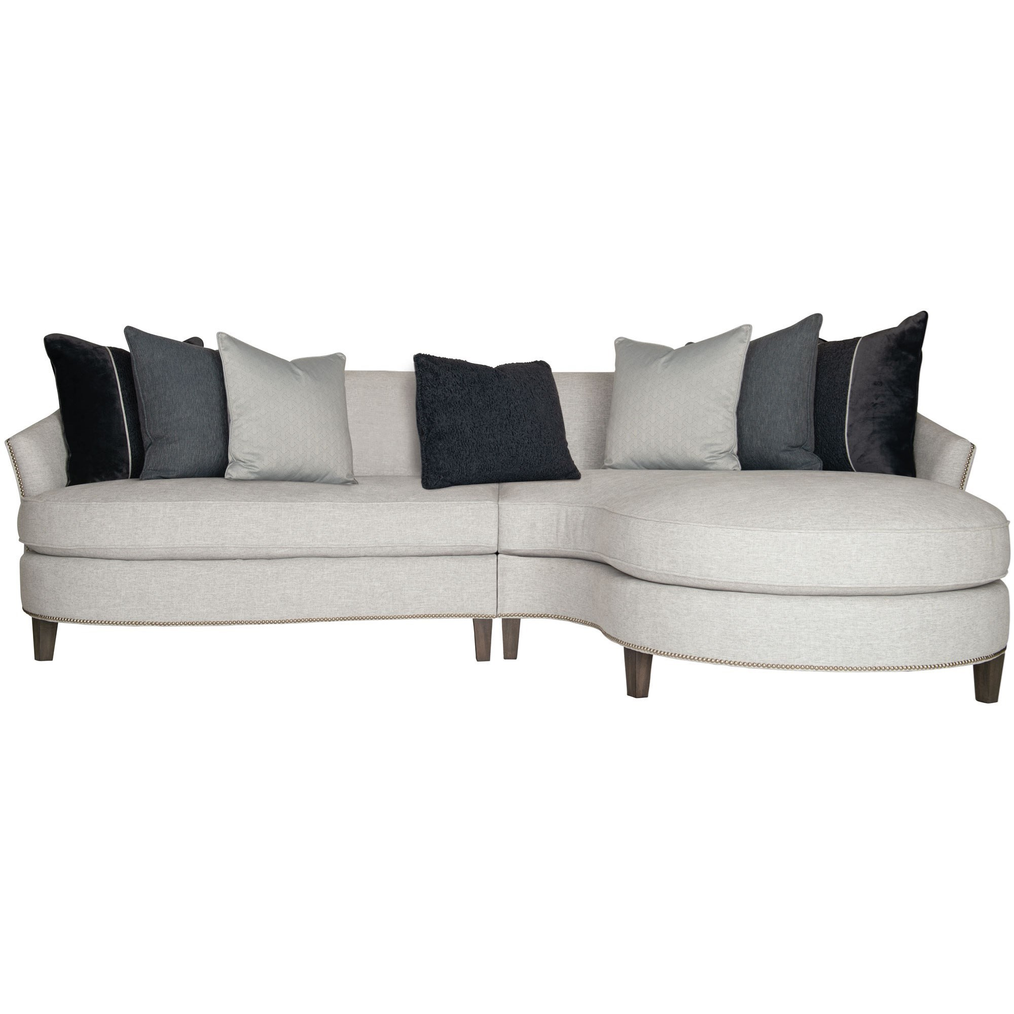 Picture of: Bernhardt Brannen Contemporary 2 Piece Sectional With Nailhead Trim Dream Home Interiors Sectional Sofas