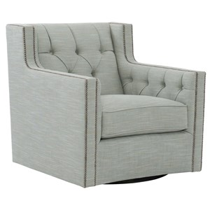 Bernhardt Candace Swivel Chair with Nail Head Trim