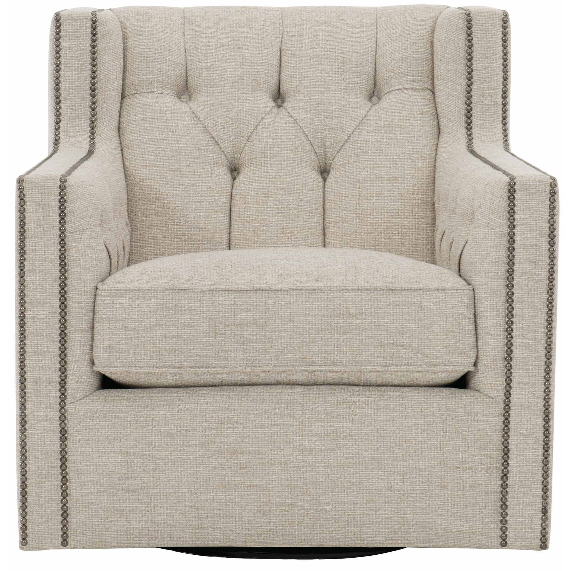 Candace Swivel Chair with Nail Head Trim by Bernhardt at Darvin Furniture