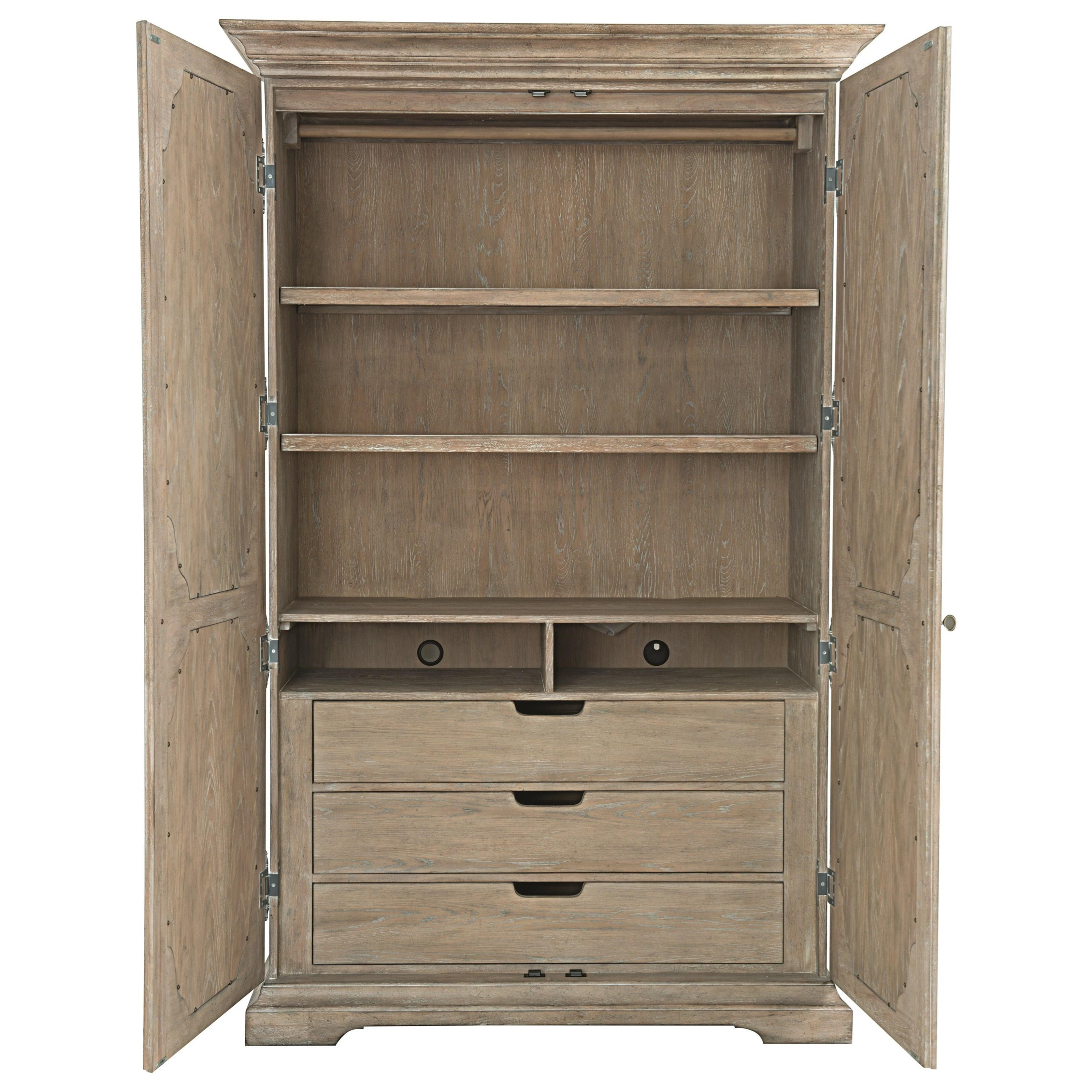 Bernhardt Campania Armoire With Inset Antique Mirrored
