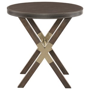 Round End Table with X BAse