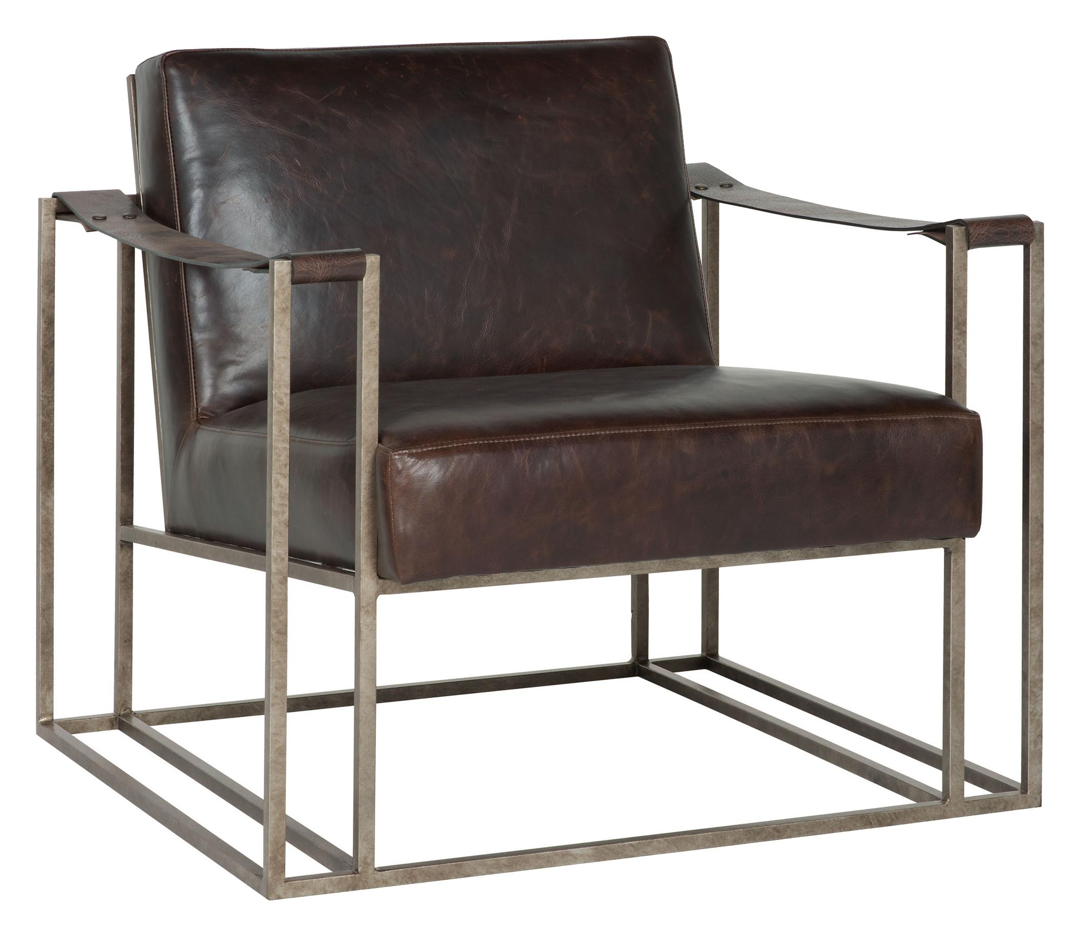 Bernhardt Dekker Industrial Leather Chair with Metal Arms ...