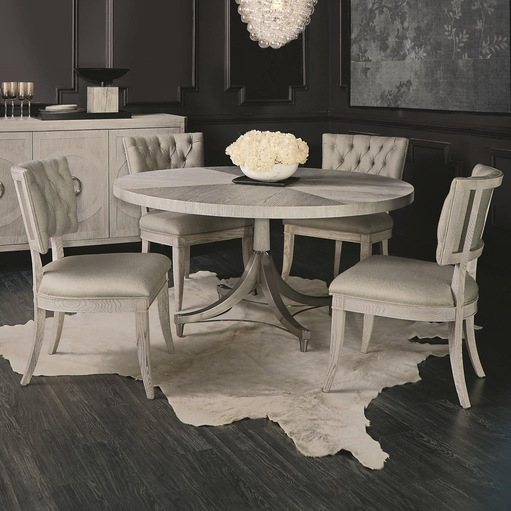 Dining Room Furniture Dealers Syracuse Ny Images Gallery. Bernhardt Domaine  Blanc 5 Piece Round Dining Set With Upholstered Rh Dunkandbright Com