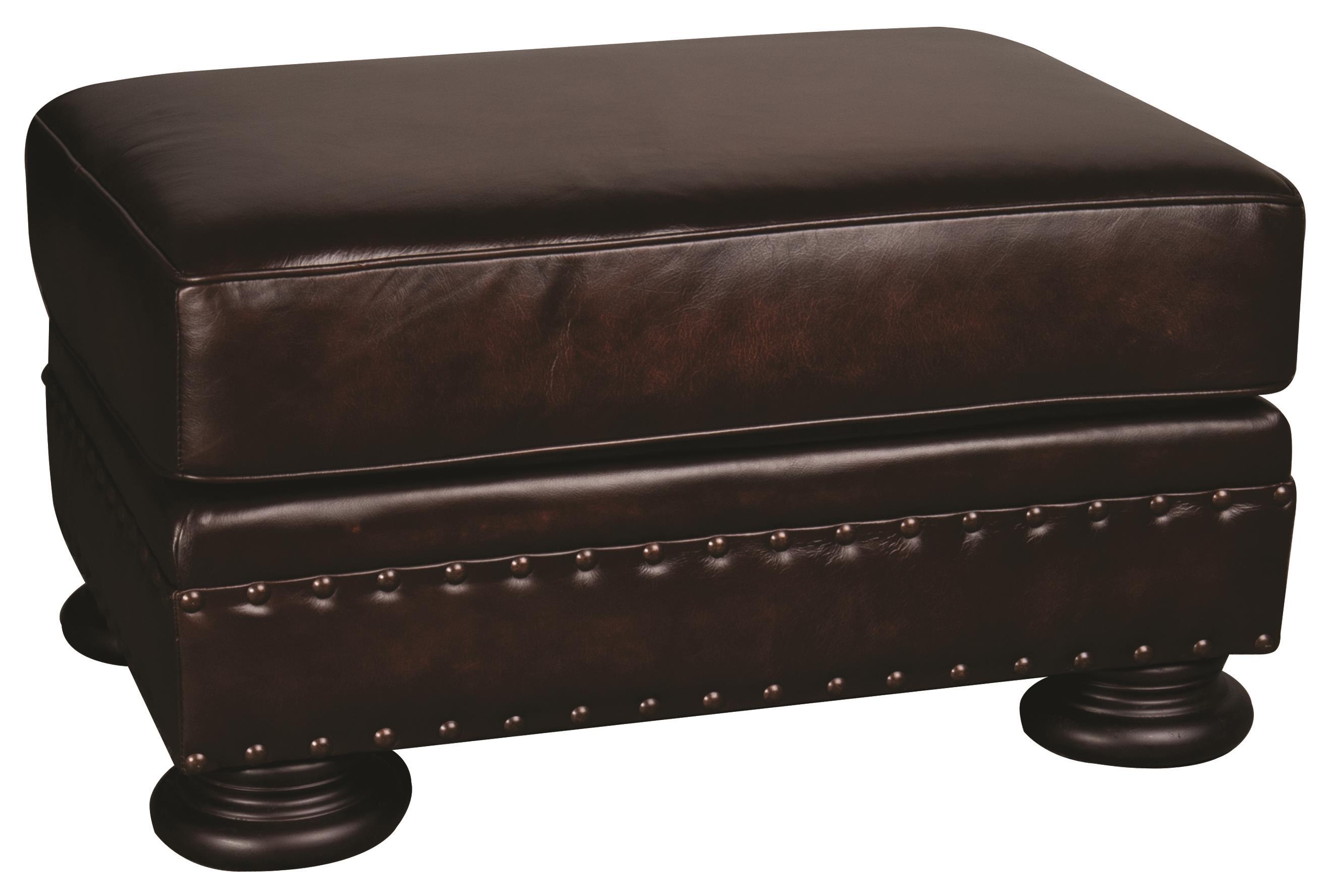 Bernhardt Foster Foster 100% Leather Ottoman - Item Number: 487147158
