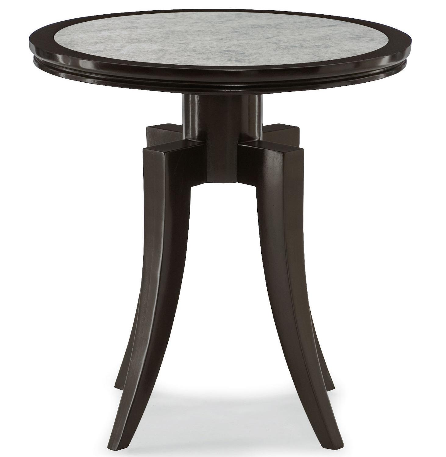 Bernhardt Dubois Round End Table With Antiqued Mirror Glass Top Wayside Furniture End Tables