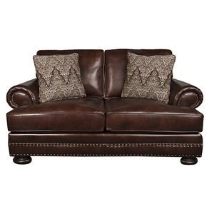Bernhardt Foster Classic 100% Leather Loveseat With Nail Head Trim And Down  Filled Pillows | Morris Home | Love Seats