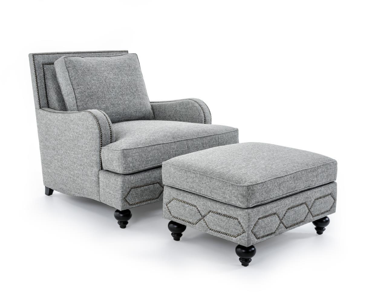Bernhardt Franklin Chair & Ottoman Set - Item Number: B4822A+B4821A GRAY