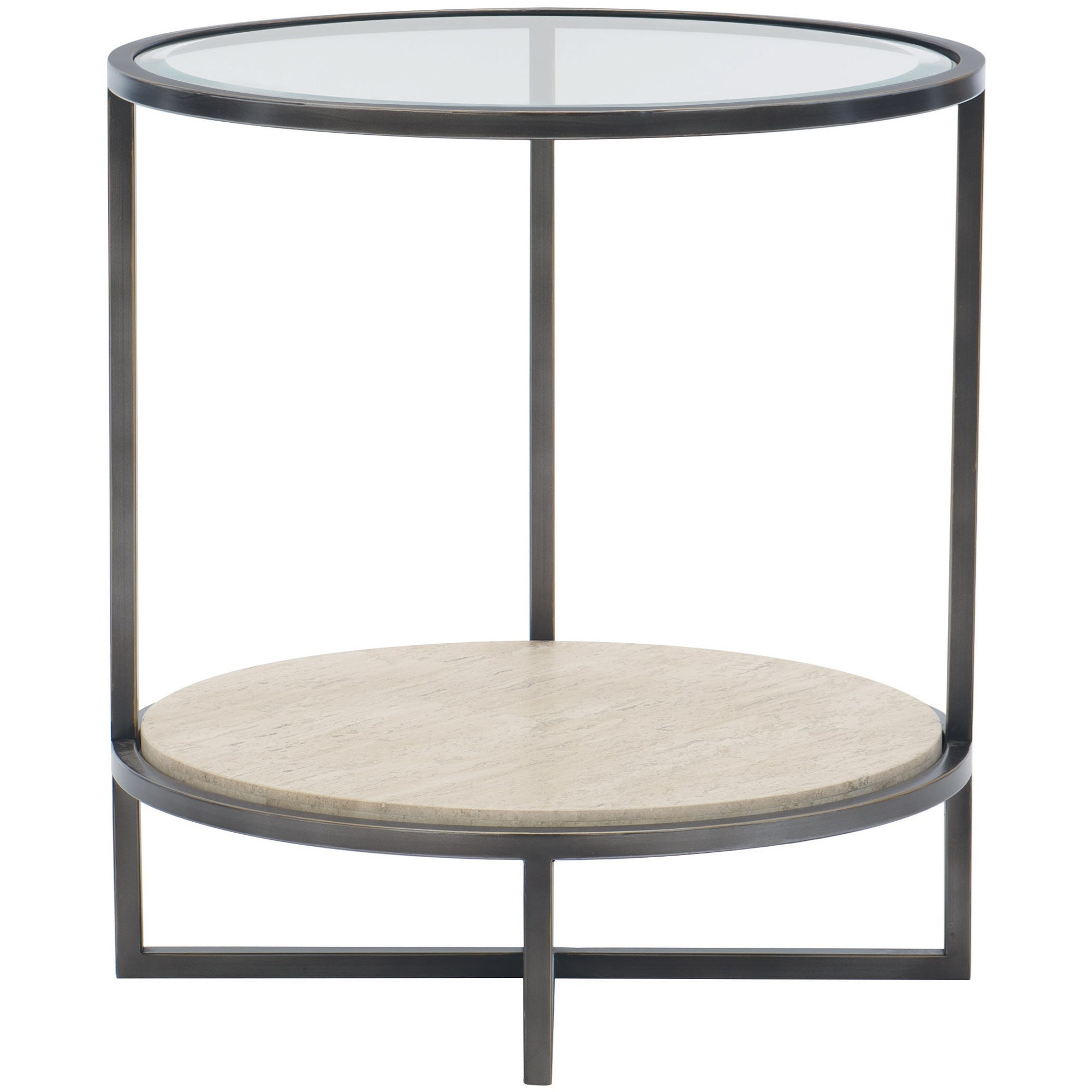 Harlow Metal Round Chairside Table by Bernhardt at Baer's Furniture